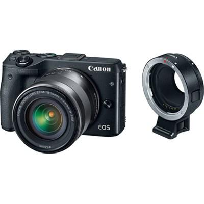 EOS M3 Mirrorless Black Digital Camera w/ 18-55mm Lens + EF-M Lens Adapter Kit