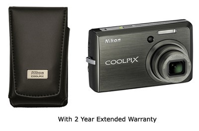 Coolpix S600 Digital Camera (Black) W/leather case and 2 Years Nikon US Warranty