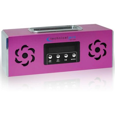 Battery Powered Speaker with iPhone or iPod Dock & USB Input - Pink