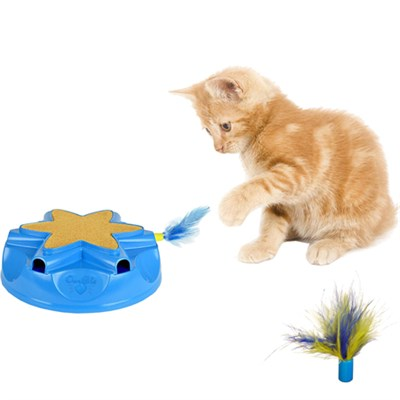 Catty Whack Interactive Sound and Feather Action Cat Toy w/ Replacement Feathers