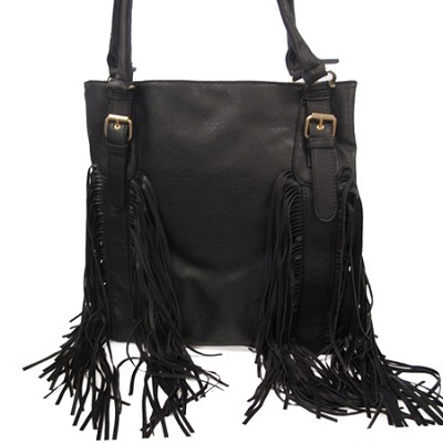 Leather PU Handbag with Fringe and Buckle Detail (Black) - 3068