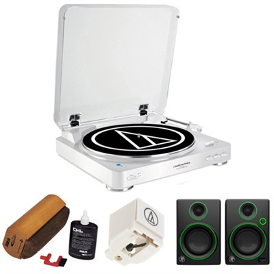 Fully Automatic Wireless Belt-Drive Stereo Turntable - White w/ Monitors Bundle