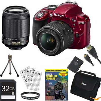 D3300 DSLR 24.2 MP HD 1080p Camera with 18-55, 55-200VR Lens - Red Bundle