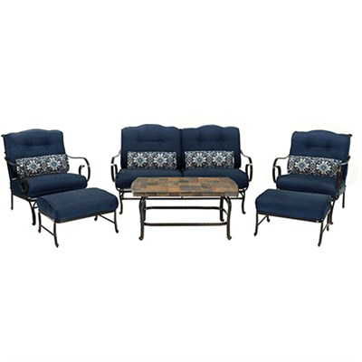 Oceana 6-Piece Seating Set in Navy Blue - OCEANA6PC-NVY