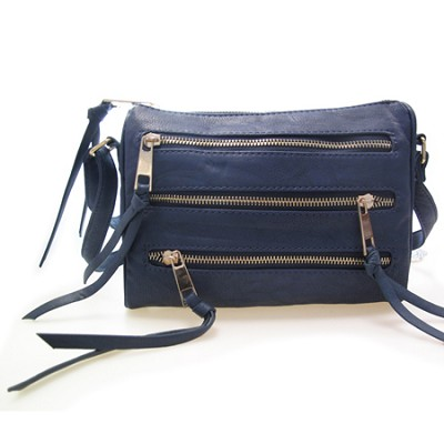 3 Zipper Detail PU Messnger Bag with Chain Strap (Navy) - 3004NVY
