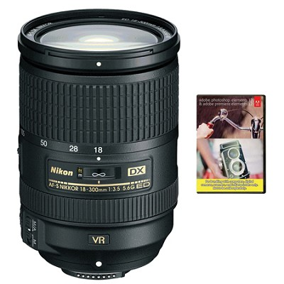 AF-S DX NIKKOR 18-300mm f/3.5-5.6G ED VR Zoom Lens w/ Adobe Elements Bundle