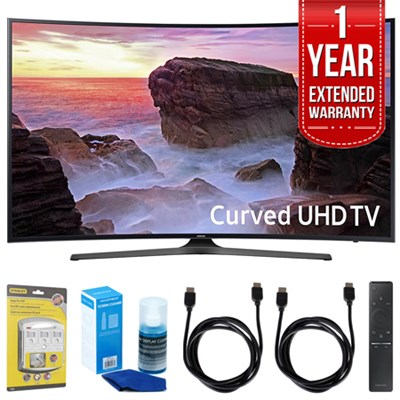 Curved 55` 4K UHD Smart LED TV (2017 Model) w/ Extended Warranty Bundle