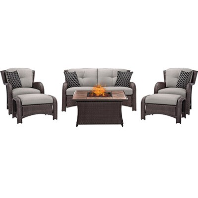 Strathmere 6-Piece Lounge Set in Silver Lining - STRATH6PCFP-SLV-TN