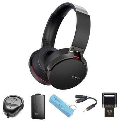 Extra Bass Bluetooth Headphones (Black) - MDRXB950BT/B w/ FiiO A3 Amp. Bundle
