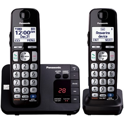 Expandable Digital Phone with Answering Machine 2 Cordless Handsets - KX-TGE232B