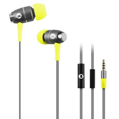 In-Ear Headphones with Mic - Grey/Yellow