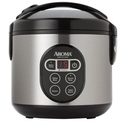 8-Cup (Cooked) Digital Rice Cooker and Food Steamer, Stainless Steel - OPEN BOX