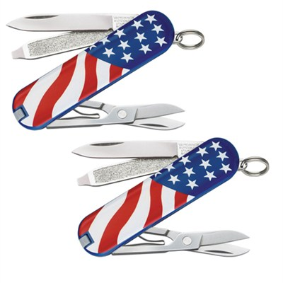 2-Pack Classic SD Pocket Knife (American Flag Design)