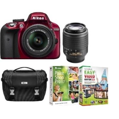 D3100 14.2MP/1080P D-SLR Camera (Red) w/ 18-55 & 55-200 VR Lenses - Refurbished