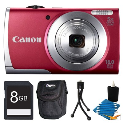 Powershot A2500 Red 16MP Digital Camera with 5x Opt. Zoom Bundle Deal