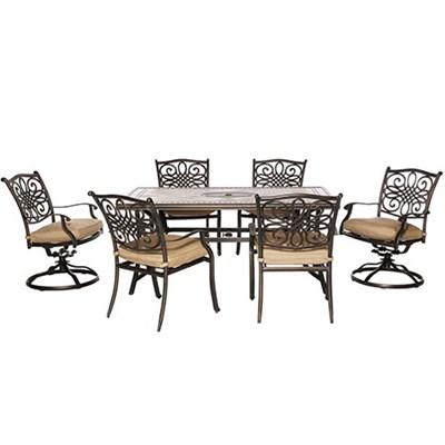 Monaco7pc Dining Set: 40x68  Porcelain Top Tbl 4 Dining Chrs 2 Swvl Chrs