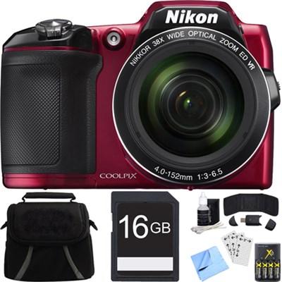 COOLPIX L840 16MP Digital Camera with 38x Zoom VR Lens - Red Refurbished Bundle