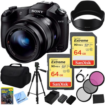 Cyber-shot DSC-RX10 Digital Camera and 2 64 GB SDXC Cards and 2 Batteries Bundle