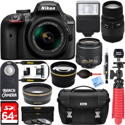 D3400 DSLR Camera w/AF-P DX 18-55mm+ 70-300mm SLD DG Lens Accessory Bundle