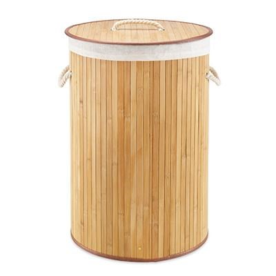 Round Bamboo Hamper Natural