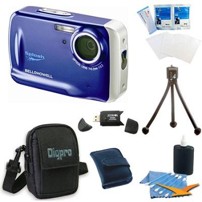 WP5 Waterproof 12.2 MP Blue Digital Camera Bundle