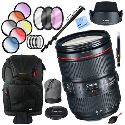 EF 24-105mm f/4L IS II USM Lens + 77mm Filter Sets and Accessories Kit