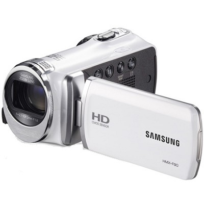 HMX-F90 52X Optimal Zoom HD Camcorder - White - OPEN BOX