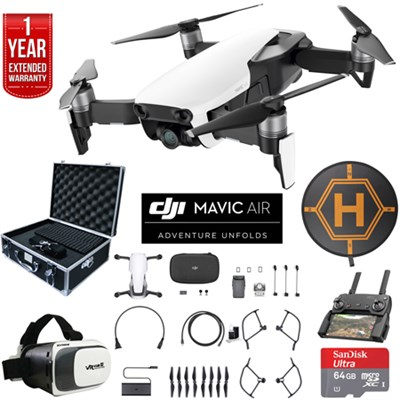 Mavic Air Arctic White Drone Deluxe Fly Bundle Case VR Set & Warranty Extension