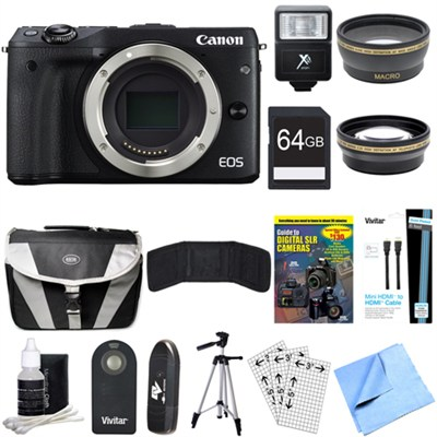 EOS M3 24.2MP Black Mirrorless Digital Camera Body 64GB Deluxe Bundle