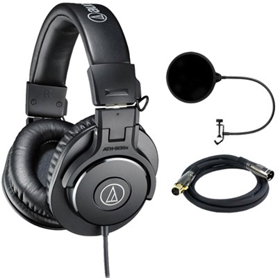 ATH-M30x Professional Headphones w/ Pop Filter Bundle