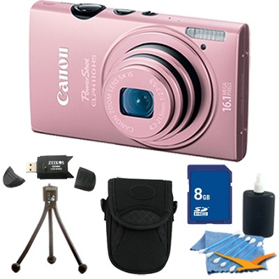 PowerShot ELPH 110 HS 16.1MP Pink Digital Camera 5x Zoom HD Video 8 GB Bundle