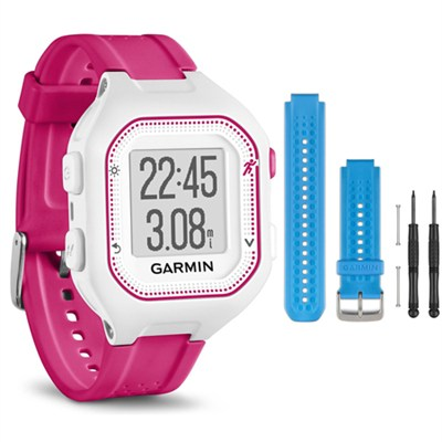 Forerunner 25 GPS Fitness Watch - Small - White/Pink - Blue Band Bundle