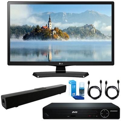 28-Inch 720p HD LED TV 2017 Model w/ HDMI DVD Player & Sound Bar Bundle