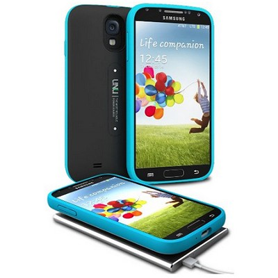 Aero Battery Case Cover with Wireless Charging Mat for Galaxy S4 - Black/Blue