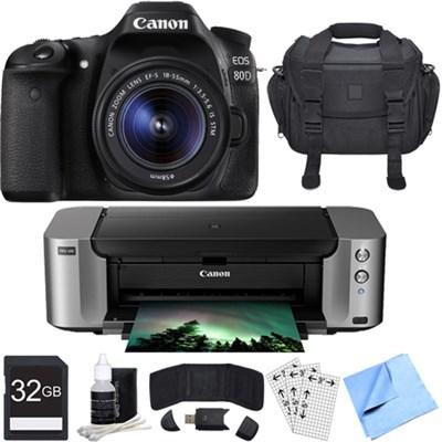 EOS 80D CMOS DSLR Camera w/ EF-S 18-55mm Lens PIXMA PRO-100 Printer Bundle
