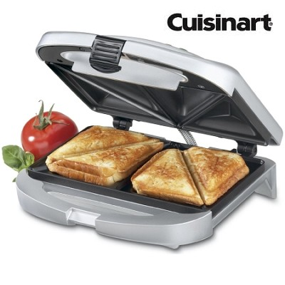Electric Non-Stick Counter-Top Cooking Panini Press in Silver - Refurbished
