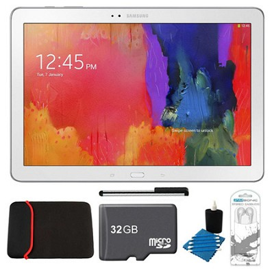Galaxy Tab Pro 12.2` White 32GB Tablet, 32GB Card, Headphones, and Case Bundle