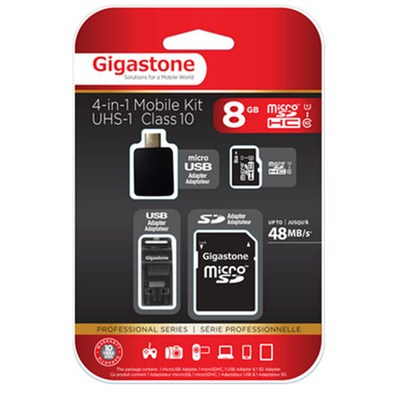 MicroSD 8GB C10 U1 With 3 Adapters