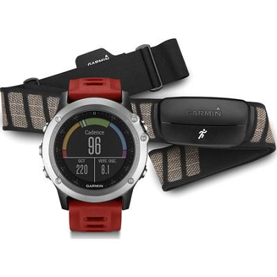 fenix 3 Multisport Training GPS Watch w/ Heart Rate Monitor Silver w/ Red Band