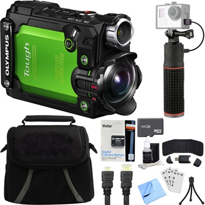 Stylus TG-Tracker Waterproof Shockproof 4K Action Cam Green Deluxe Bundle