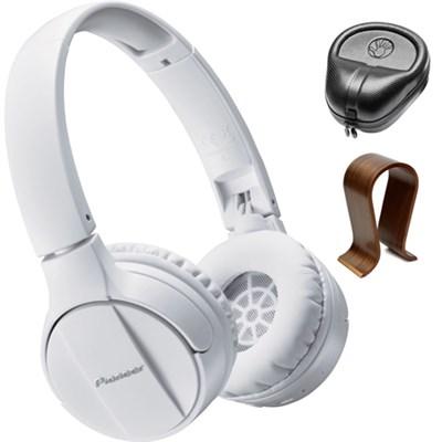 On-Ear Wireless Headphones White SE-MJ553BT-W w/ Wood Stand Bundle