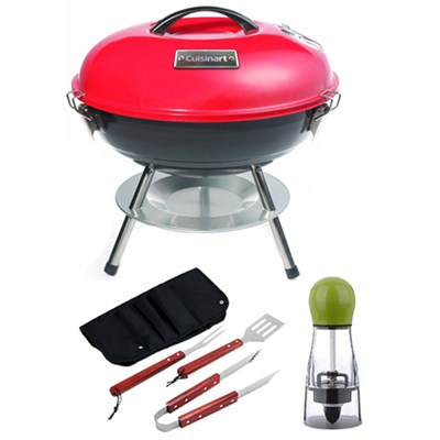 Portable Charcoal Grill, 14`, Red with Carteret BBQ Apron tool & Spice Mill