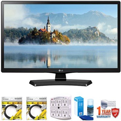 24` Class 23.6` Diag HD 720p LED TV 2017 Model  with Extended Warranty Bundle