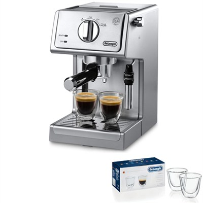 15 Bar Pump Driven Espresso/Adjustable Cappuccino Machine (Steel) 2 Glass Bundle