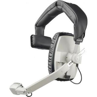 Single-Ear Headset with Dynamic Hypercardioid Microphone, 50 Ohms, Grey