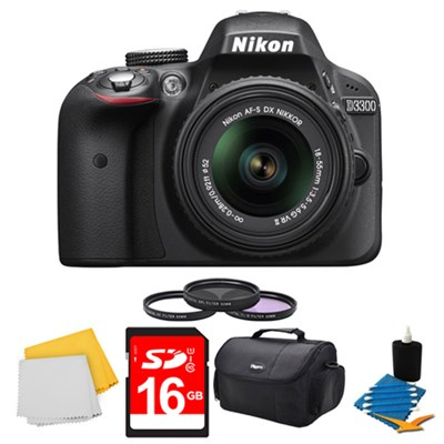 D3300 DSLR HD Black Camera, 18-55mm Lens, 16GB Card, Case, and Filter Bundle