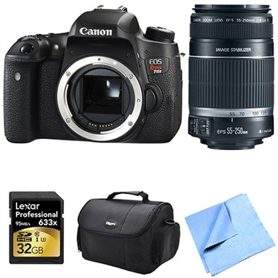 EOS Rebel T6s Digital SLR Camera Body with 55-250mm Lens 32 GB Bundle