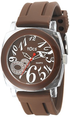 `Crystal 8` Analog Round Watch Brown - 40115