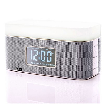 Sunrise Bedside Speaker Clock with Light (White) - BEMSCW