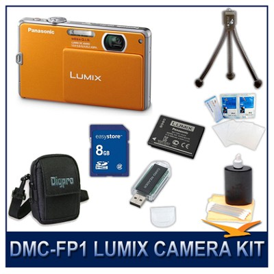 DMC-FP1D LUMIX 12.1 MP Digital Camera (Orange), 8G SD Card, Card Reader & Case